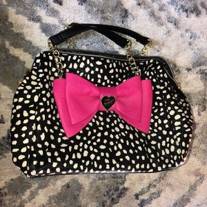Betsey Johnson Polka Dot Pink Bow Purse
